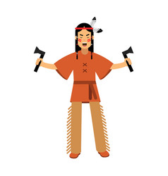 native american indian in traditional costume vector image