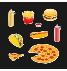 Set Symbols Fast Food vector image vector image