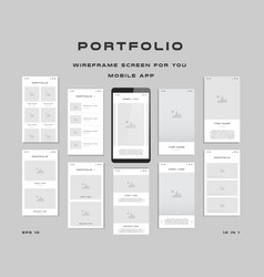 10 in 1 ui kits wireframes screens for your vector image