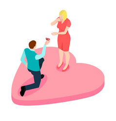 a man proposing to the girl standing on knee isom vector image