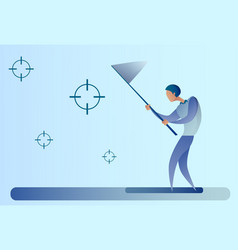 Abstract business man catch targets with butterfly vector