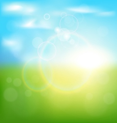 Abstract spring background with sunrise and grass vector image