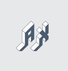 Ax - monogram or logotype isometric 3d font for vector