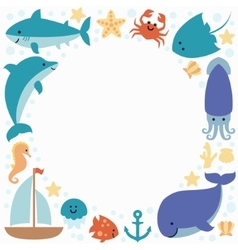 Background wallpaper with sea animals and place vector