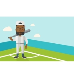 Baseball player on field vector