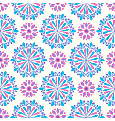 bright mandala pattern in pink-white and yellow vector image