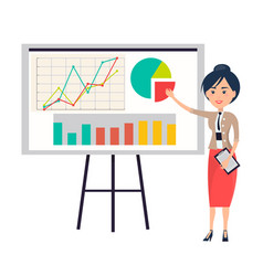 Business woman making presentation near flipchart vector