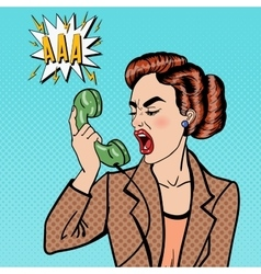 Business Woman Screaming into the Phone Pop Art vector