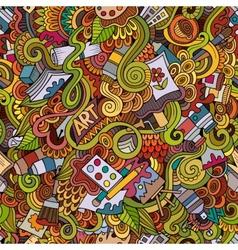 Cartoon art and craft seamless pattern vector