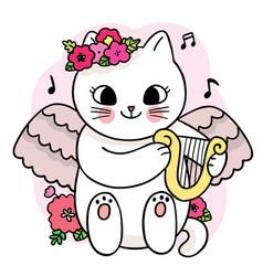 Cartoon cute angle cat and play mandolin vector