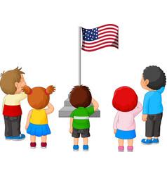 Cartoon kids saluting american flag vector