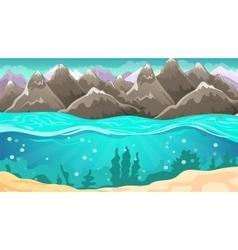 Cartoon Seascape And Mountains vector
