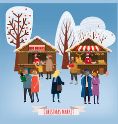 Christmas fair market anthropomorphic set of vector