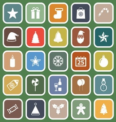 Christmas flat icons on green background vector