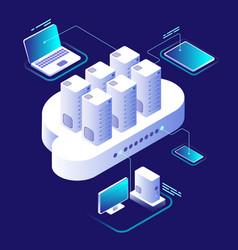 Cloud computing concept computing network vector