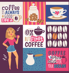 coffee addiction cute cartoon female coffee vector image