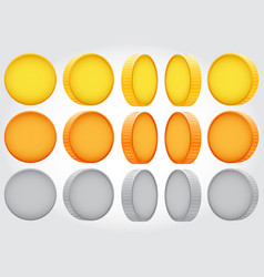 coin rotation gold copper silver vector image vector image