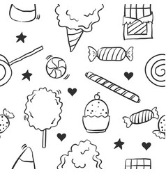 Collection of candy various doodles vector