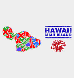 Composition maui island map symbol mosaic and vector