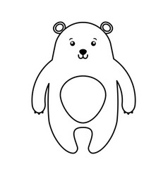 Cute line icon bear cartoon vector