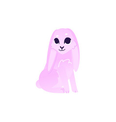 Cute rabbit with pink fur sitting isolated on vector