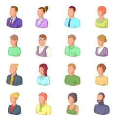 Different people icons set cartoon style vector