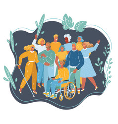 Disabled children with friends and teacher vector