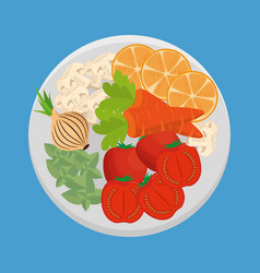 dish with fresh vegetables vector image