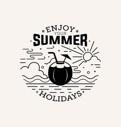 Enjoy your summer holiday flat style with line art vector
