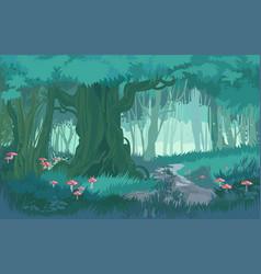 Fabulous shades blue dusk forest jungle vector