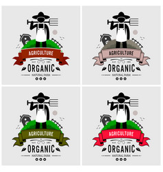 farmer farming logo design artwork of a farmer vector image