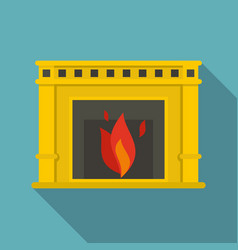 Fireplace with fire burning icon flat style vector