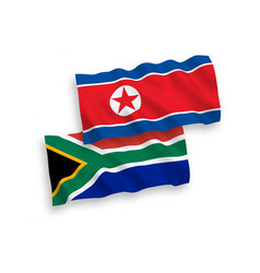 flags north korea and republic south africa vector image