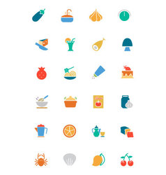 Food and Drinks Colored Icons 10 vector image