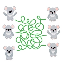 Funny cute koala set on white background vector image