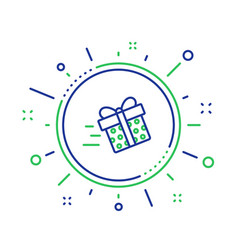 Gift box delivery line icon present sign vector