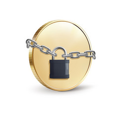 gold coin with padlock coin security concept 3d vector image