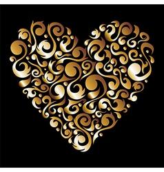 Golden Valentines floral love heart vector