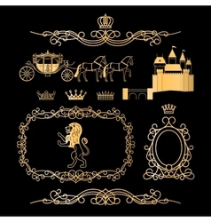 Golden vintage royal elements vector