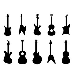 guitar silhouettes rock acoustic electric vector image