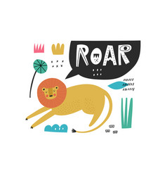 hand drawn cartoon lion character and roar vector image