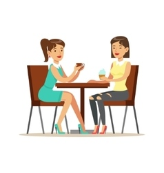 Happy Best Friends Drinking Coffee In Cafe Part vector