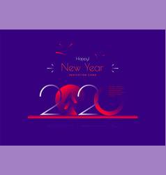 happy new year 2020 greeting card in duotone vector image