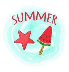 hello summer card with handdrawn red lettering on vector image