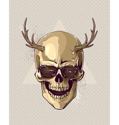Hipster gold skull vector image