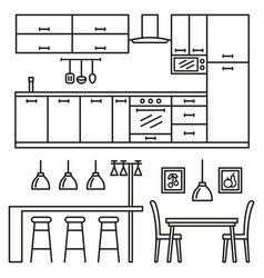 Kitchen modern furniture vector