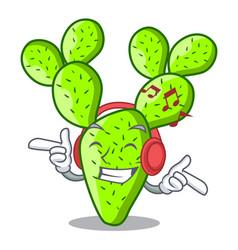 Listening music beautiful opuntia cactus in the vector