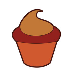 Little delicious creamy cupcake vector