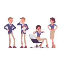 male and female office secretary deeply sad and vector image