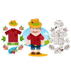 man in summer clothes beach things shirt hat vector image